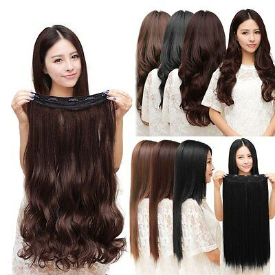 Real Natural 3/4 Full Head Clip In Hair Extensions Curly/Straight Brown/Black