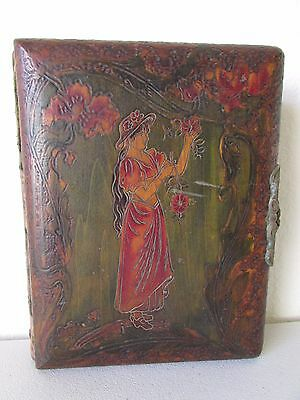 Antique Victorian Velvet & Wood Cover Woman With Flowers Photo Album