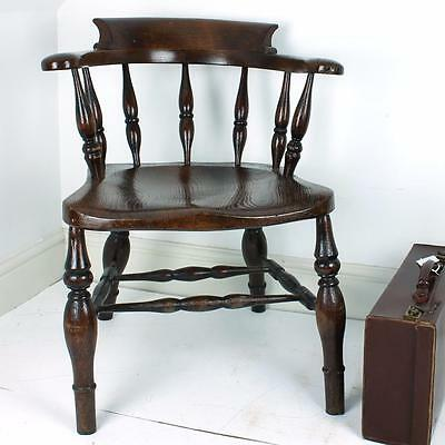 Oak Captains chair Vintage Antique Wood Dining Bedroom Side Room Retro Rustic