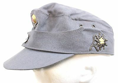GERMAN ARMY MOUNTAIN FIGHTERS m43 SKI HAT+ EDELWEISS & SWORDS BADGES
