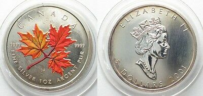 CANADA 5 Dollars 2001 Maple Leaf SUGAR MAPLE colored 1 oz SCARCE!!! # 96084