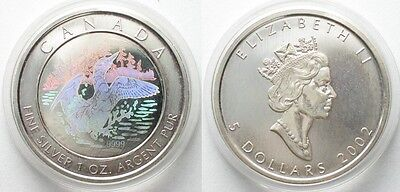 CANADA 5 Dollars 2002 LOONEY silver HOLOGRAM Proof # 96073