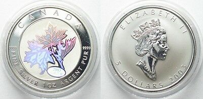 CANADA 5 Dollars 2003 Maple Leaf GOOD FORTUNE MAPLE silver 1 oz # 96068