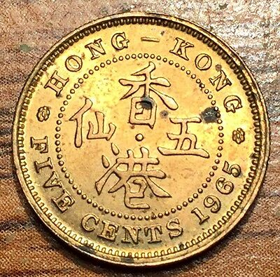 1965 Hong Kong 5 Cents Elizabeth II Coin Condition About UNC+