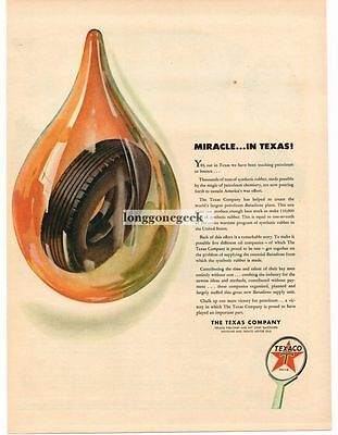 1944 Texaco Tire in Oil Drop art Vtg Ad