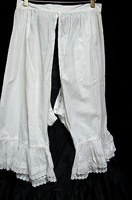 ANTIQUE 1800s VICTORIAN LONG WHITE OPEN BOTTOM PANTALOONS BLOOMERS