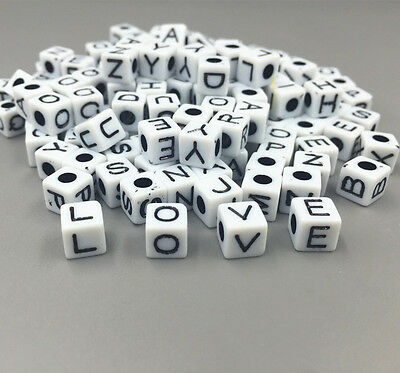 100X Mixed Cubic Acrylic Letter/ Alphabet Spacer Beads black Hole 6 x 6mm