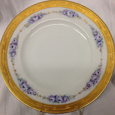 """Hutschenreuther Carlyle Signed 10"""" Dinner Plate Gold Encrusted Rim Blue Flowers"""