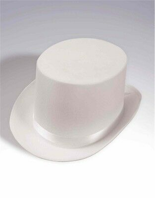 New Super Deluxe White Satin Formal Costume Top Hat