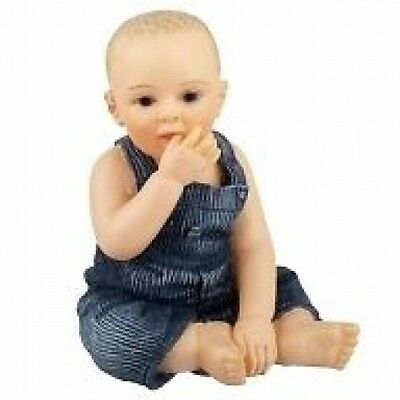 Dolls House Doll:    Resin Figure of a Baby wearing dungarees :  12th scale
