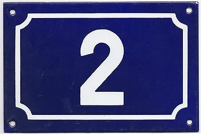 Large old French house number 2 door gate plate plaque enamel steel metal sign