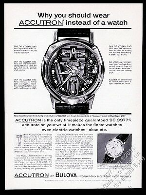 1963 Bulova Accutron Spaceview watch illustrated vintage print ad