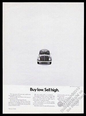 1971 VW Volkswagen Beetle classic car photo Buy Low Sell High vintage print ad