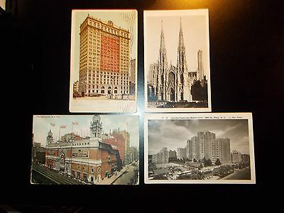 LOT OF 4 DIFF - OLD NEW YORK CITY - USED PPCs  1907-46