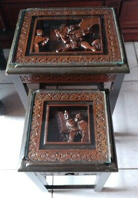 VTG Wood Carved Chinese Oriental Stacking Nesting Tables Pair George Zee?
