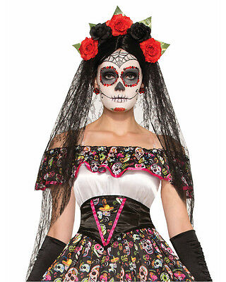 Mexican Day Of The Dead Headband With Flowers Costume Accessory
