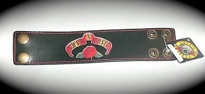 GUNS N' ROSES LEATHER WRISTBAND Snap Button Bracelet L/XL Large/Extra Large  NEW