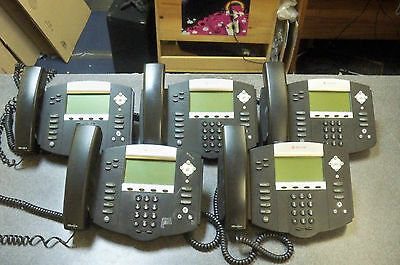 Lot of (5) Polycom IP550 SIP Business Phones 2201-12550-001 with Handsets