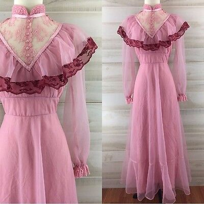 Vintage 70s sheer pink lace ruffled hippie boho maxi dress long sleeve M L