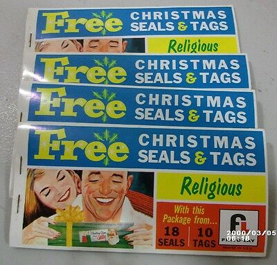 4 Frito Lay Premiums Booklets of Christmas Seals & Tags   c. 1960s