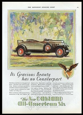 1929 Oakland All-American Six rumble seat roadster car vintage print ad NM