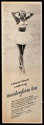1950 Maidenform Bra woman as ballerina ballet photo vintage print ad