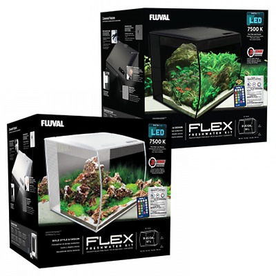 Fluval Flex Curved Glass LED Nano Aquarium Fish Tank 34L / 57L - Black & White