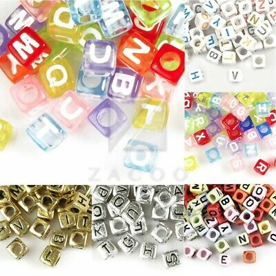 Wholesale Acrylic Cube Alphabet Letter Beads Jewellery Making 6x6x6mm/7x7x7mm