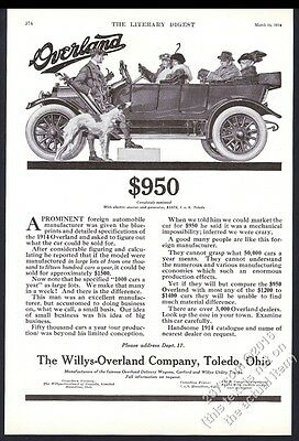 1914 Borzoi Russian Wolfhound art Willys-Overland touring car vintage print ad