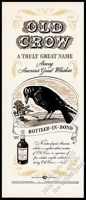 1939 Old Crow Bourbon Whiskey black bird art vintage print ad