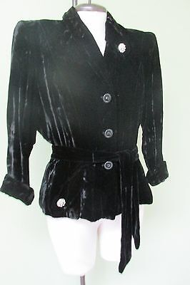 "Vintage 1940's Black Velvet Jacket W/ Rhinestone Buttons And Sash/   40"" Bust"