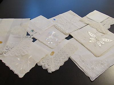 10 Vintage White Wedding Bridal Lace Madeira Embroidered Hankies Stickers