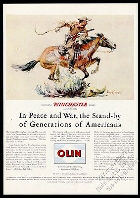 1946 Winchester 94 rifle cowboy on horse classic Goodwin art vintage print ad