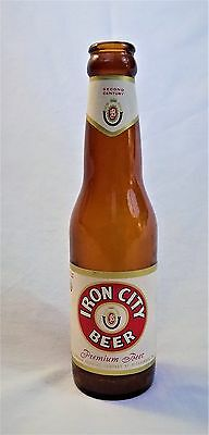 IRON CITY BEER BOTTLE 7 OZ BROWN GLASS PAPER LABELS VINTAGE 1960's EMPTY