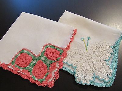 2 Lovely Vintage Cotton Crochet Floral and Butterfly Hankies
