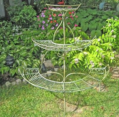 3-Tier Plant Stand - Wrought Iron - Antique Mint Green Finish