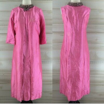 Vintage 60s pink silk jeweled beaded shift midi dress & coat suit S