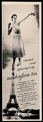 1950 Maidenform Bra woman and Eiffel Tower photo vintage print ad