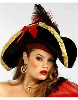 Black and Gold Adult Costume Pirate Hat with Feather and Red Ribbon
