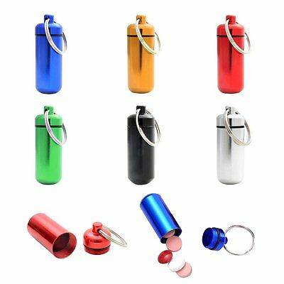 5 x Pill Box Bottle Holder WaterProof Aluminum Container Keychain Medicine Case
