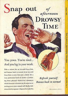 Snap out of afternoon Drowsy Time August 1933 Coca Cola magazine ad