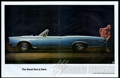 1967 Pontiac GTO convertible big blue car photo vintage print ad