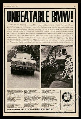 1966 BMW 1800 TI 1800ti car and Dalmatian photo vintage print ad