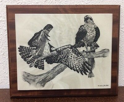 """John Wills Studios Cultured Marble Etching The Osprey Framed 1984 Signed 12""""x10"""""""