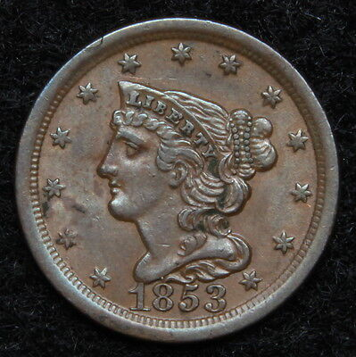 1853 Braided Hair Half Cent - Rare Only 129,694 Minted . Very Nice (5282)