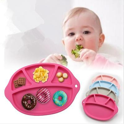 One-piece Baby Silicone Suction Table Food Tray Placemat Plate Mat Divided Bowl