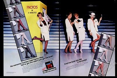 1985 No Nonsense color pantyhose woman in photo booth 11 pic vintage print ad