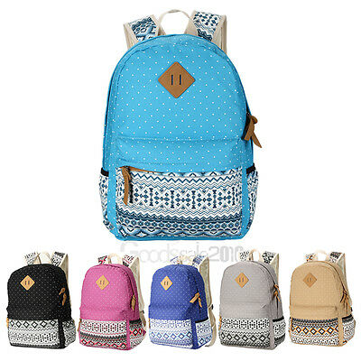 Women Girl Canvas Shoulder School Bag Backpack Travel Satchel Rucksack Handbag