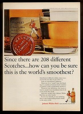1964 Johnnie Walker Red Scotch whisky bottle & lowball glass photo print ad