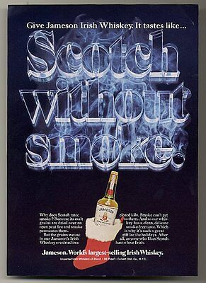 1976 Jameson's Whiskey bottle in Santa Christmas stocking photo vintage print ad